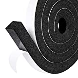Fowong Adhesive Weather Stripping, 25mm(Width) X 25mm(Thick), Open Cell and Low Density Door Insulation Strip High Resilience Air Conditioner Flame Resistance (2 Rolls with Total 4M Long)