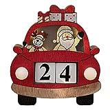WANGCY Calendario De Adviento Madera Reno Navidad Decoración con Forma Coche Papá Noel para Mesa Chimenea Ventana Adornos Hechos A Mano Multicolor