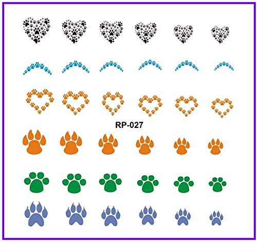 SRTYH Autocollant d'ongle Nail Art Beauty Water Decal Slider NAIL STICKER ANIMAL CLAW-Paw-Foot-Print-SWEET Heart Make your nails more beautiful AA