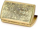 JIAJBG Cigarette Casecarved Constantine Solid Brass Soporte de Metal Tiene 12 Cigarrillos impermeable