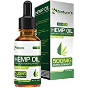 Hemp Oil for Pain Relief 500mg :: Stress Support, Anti Anxiety, Sleep Supplements:: Herbal Drops :: Rich in MCT Fatty Acids :: Natural Anti Inflammatory :: 1 Fl oz. (30 ml)