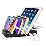 Charging Station,Thopeb 4 Port USB Charging Station & Multiple USB Charger Docking Station - Compatible Ipad,iPhone,Samsung,Smartphone - Desktop Cell Phone Charging Station Organizer(Black)