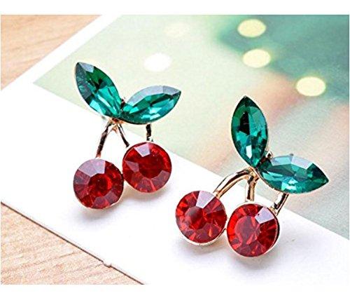 Primi 2pcs Moda perla oído Bones Clip de oreja no Piercing, Aleación, Red+Green, 2x1.6cm