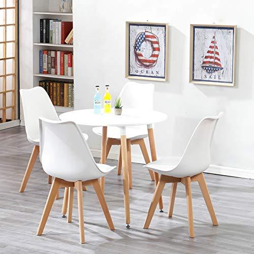 Uderkiny A Mesa de Comedor Redonda de Estilo nórdico y 4 sillas, Tapa de MDF y sillas de Estilo nórdico, Apta para restaurantes cocinas Balcones oficinas (Blanco 03)