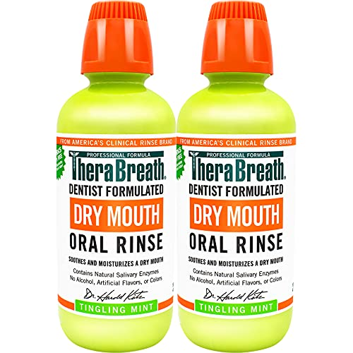 TheraBreath Dry Mouth Dentist Recommended Oral Rinse, Tingling Mint, 16 Ounce (Pack Of 2)
