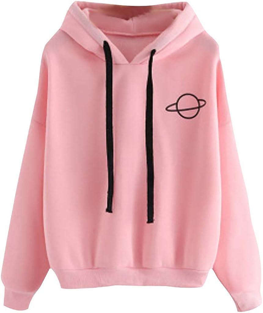 FABIURT Womens Sweatshirts,Womens Casual Color Block Long Sleeve Hoodies Tops Loose Drawstring Sweatshirt with Pocket