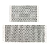 Aonewoe Indoor Area Rugs Tassel Cotton Rug Hand Woven Solid Bath Mat Rug with Non Slip Pad Bedroom Living Room Laundry Room Entryway Throw Sofa Cover 2PCS 60x90cm+60x130cm