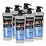 DIPLONA Champú para cabello fino y fino, champú profesional para mujeres, vegano, sin siliconas ni parabenos, 6 unidades de 600 ml