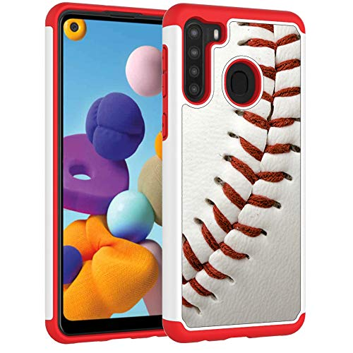 Samsung A21 Case, Galaxy A21 Phone Cover - Baseball Sports Pattern Shock-Absorption Hard PC and Inner Silicone Hybrid Dual Layer Armor Defender Protective Case for Samsung Galaxy A21