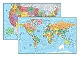RMC Signature United States USA and World Wall Map Set (Laminated)