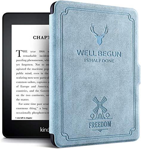 Funda Rústica Cuero para Kindle Paperwhite (Generaciones Antes de 2018), Caso de la Cubierta para Amazon Kindle E-Reader con activación/suspensión autom