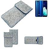 K-S-Trade Filz Schutz Hülle Für Hisense Infinity H11 Pro Schutzhülle Filztasche Pouch Tasche Hülle Sleeve Handyhülle Filzhülle Hellgrau, Blauer Rand
