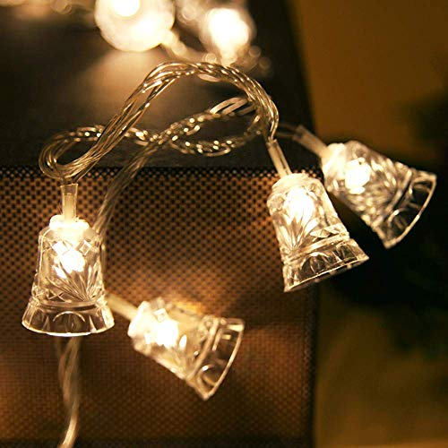 JALAL 1.2M Solar Powered Christmas LED Bell String Lights Tree Icicle LED Bulbs Home Xmas Decoration
