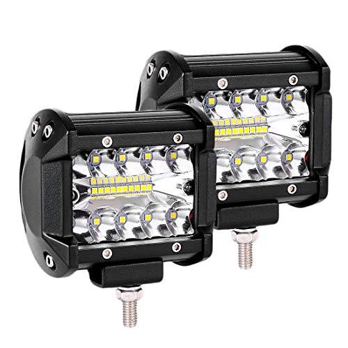 LTPAG 2pcs Focos LED Tractor, 4' 120W 12000LM Faros Trabajo LED 12V-24V Foco LED para Tractores IP68 Impermeable Luz de Niebla para Coche,SUV, UTV, ATV, Off-road,Camión,Moto,Barco - Garantía de 2 años
