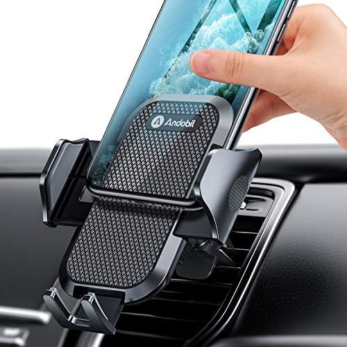 Andobil車載ホルダー スマホスタンド車 エアコン式 高耐久性 ワンタッチ 360度回転可 日本語取扱書付き iPhone/Samsung/HUAWEI/SONY/Android携帯全機種対応 黒