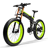 Cyrusher XF690 Motorcycle Style Electric Bike 750W Bafang Motor 7 Speeds Fat Tire Mountain Bike for Adults Full Suspension Hydraulic Disc Brakes with 12.8Ah Lithium Battery(Green)