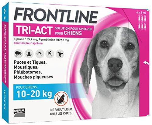 FRONTLINE TRI-ACT Chien - Anti-puces et anti-tiques pour chien - 10-20kg - 6 pipettes