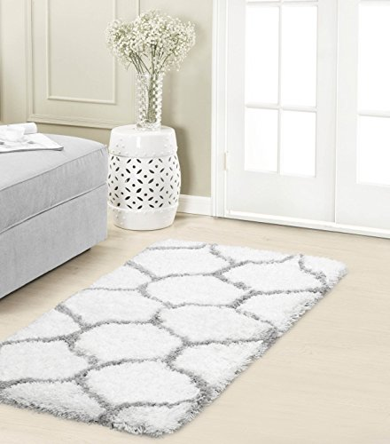 Vista Living Alfred Chunky Shag Accent Rug, 24x36, Grey/White