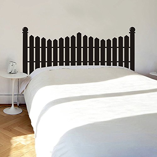 MairGwall Headboard Wall Decal Picket Fence Wall Sticker Bed Vinyl £¨NOT Real Headboard (Black, Full)