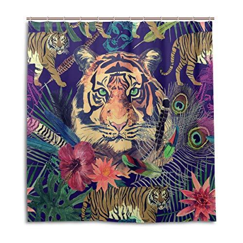 BIGJOKE Duschvorhang, Tiger, Blumen, schimmelresistent, wasserdicht, Polyester, 12 Haken, 167,6 x 182,9 cm, Heimdekoration