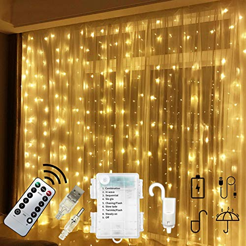 Chipark 300 LED Curtain Lights USB Operated Or Battery Powered Window String Lights 3m 8 Modes Remote Timer Hanging Wall Lights Waterproof Copper Light for Outdoor Indoor Wedding Decor (Warm White)