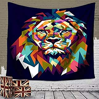 Arawara Lion Tapestry - Retro Tapestry - Geometric Lion Wall - Animal Wall Hanging Decor - Wall Decoration for Living Room, Bedroom, Bathroom, and Patio.