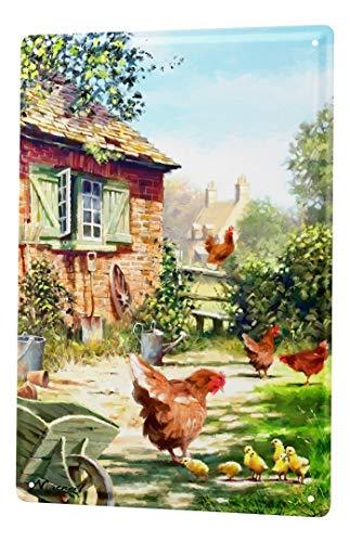 LEotiE SINCE 2004 Blechschild Dekoschild Küche Garage Vogel Hühner Bauernhof Garten Metall Deko Wand Schild 20X30 cm