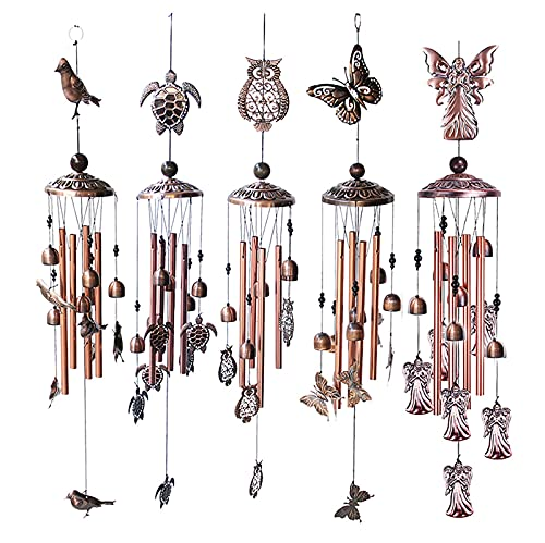Campanas de viento de jardín Campanas de viento para decoración interior al aire libre de metal mariposa tortuga campana viento ornamento con gancho decoración del hogar