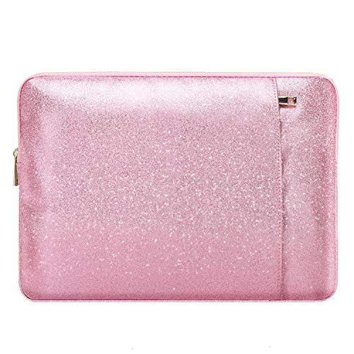 MoKo 13 Inch Laptop Sleeve Case Bag Fits MacBook Air 13 / MacBook Pro Retina 13 / iPad Pro 12.9 / Surface Pro X 13', PU Leather Portable Universal Notebook Case Waterproof Bag - Shining Pink