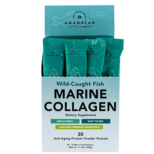 Amandean Marine Collagen Peptides Stick Packs   Wild-Caught Fish   30 Single Use Individual Convenience Packets   Anti-Aging, Paleo Friendly, Non-GMO, Zero Carbs, Unflavored, High Bioavailability Mix