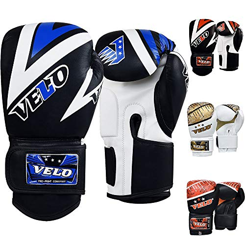 Velo Boxhandschuhe aus Mikrofaser, Leder, Muay Thai, Training, Sparring, Boxsack, Kickboxen, Kampfhandschuh für Boxsack, Focus Pad | Armkick Pad, schwarz / rot, 340,2 g (12 oz)