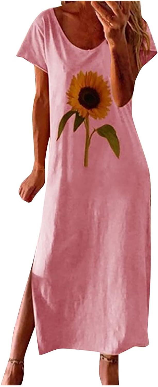 Dress for Women Loose Sunflower Print Short Sleeves Maxi Long Dress O-Neck Sundresses Summer Midi Dresses Short Sleeves