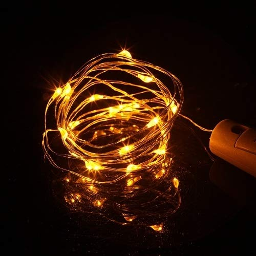 No-branded PDHCC 10pcs Copper Wire LED Fairy String Light 1M 2M Garland Decorative Light for Glass Craft Bottle Home Decoration Light (Emitting Color : Yellow, Wattage : 2M 20LEDS)