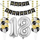 Globos 18 Cumpleaños, decoracion 18 años, Happy Birthday Bandera Feliz Cumpleaños 18 Años, Número 18 Globos de Papel Plata para Hombres y Mujeres Adultos Oro Negro Decoración de Fiesta