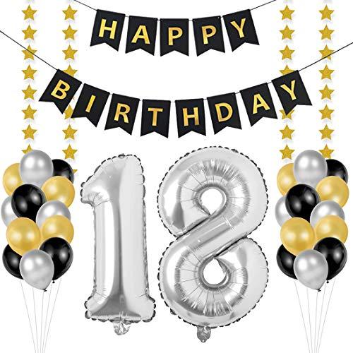 Bluelves Palloncini 18 Anni Compleanno, Kit Decorazioni 18 Compleanno, Palloncini Numeri 18 Argento 102 CM, Happy Birthday Striscione Neri Oro Stella, addobbi per Feste di Compleanno Adulti