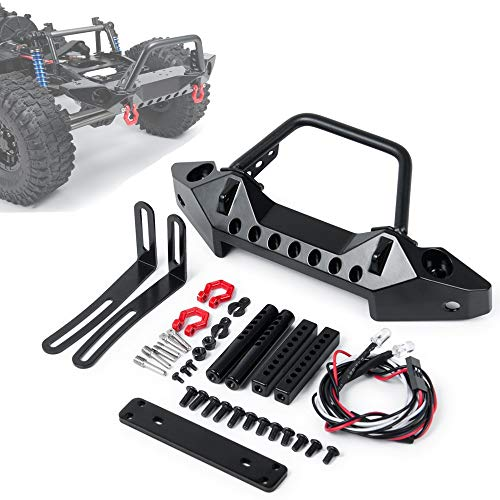 XUNJIAJIE Stahl Vordere Stoßstange mit Schäkel/LED Licht Front Bumper für Axial SCX10/SCX10 II 90046 1/10th RC Crawler Auto