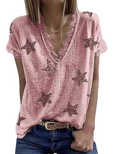 Vialogry Camisa de manga corta con cuello en V, con estampado de estrellas y cuello en V y manga corta para verano, rojo vino, M
