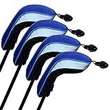 Gwxevce 4 Pezzi. Cappucci per Mazze da Golf Altamente Elastici e Traspiranti con Collo Lungo, Blu Intercambiabile