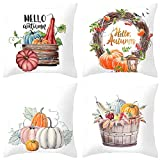 Image: HEYHOUSENNY Decorative Throw Pillow Covers | Autumn Cushion Covers | Square Outdoor Pillowcase for Sofa | Set of 4 (Pumpkin)