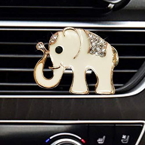 LHEVEN Auto Diamond Elephant Car Air Conditioning Outlet Clip Decorative Car Air Vent Clip Charm, Bling Car Accessories, Car Interior Decoration Charm, Cute Car Decor (White)