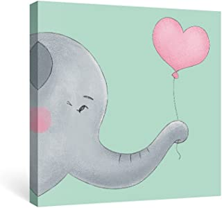 SUMAGR Elephant Wall Art Nursery Teal Gray Canvas Paintings Animal Pictures Pink Artwork, 12x12 inch