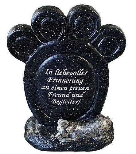 Fachhandel Plus Grabdeko Gedenkstein Pfotenabdruck mit Spruch In liebevoller Erinnerung an einen treuen Freund und Begleiter! Tiergrabstein Grabdeko Hund