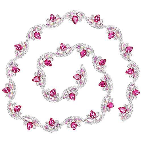 Chaîne de strass, chaîne de couture en forme de fleur, mode exquise accrocheur pour chaussures vêtements(Rose red silver bottom)