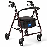 Medline Rollator Walker with Seat, Steel Rolling Walker with 6-inch Wheels Supports up to 350 l…