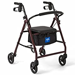 "ROLLATOR WALKER WITH SEAT AND 6"" WHEELS - The Medline Rollator features a padded seat that allows the user to sit and rest, and smooth rolling 6 inch wheels that are great for indoor or outdoor use ROLLING WALKER EASILY FOLDS - Easily fold the Medlin..."