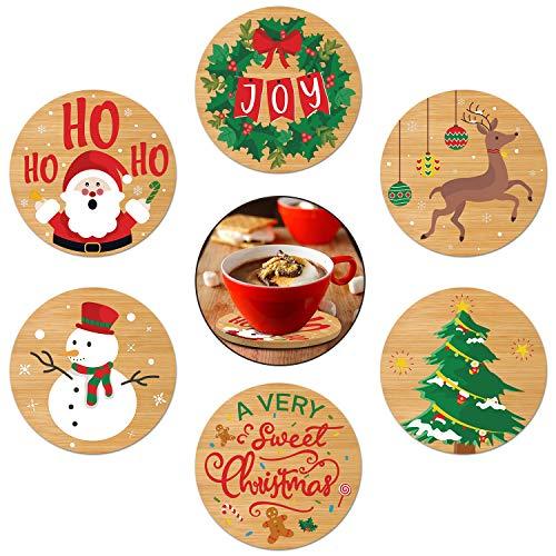 Rhdekoein Weihnachten Untersetzer für Gläser aus Bambus rund im 6er Set 10cm für Weihnachts Geschenk Tisch deko für Tisch Tassen Getränke