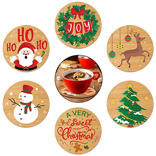 Christmas Coasters for Drinks Set of 6 - Bamboo Wood Coasters for Drinks and Coffee, Rustic Coasters, Christmas Cup Mat, Gift Worthy Housewarming Birthday Wedding Gift Idea