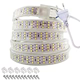 Tiras de luz LED 220V, Tesfish AC 220V, 276 LEDs / M Blanco 6000K IP67 Impermeable Tiras de Luces LED con Enchufe de la EU para Interior y Exterior, Armarios de Cocina, Decoración de Jardín