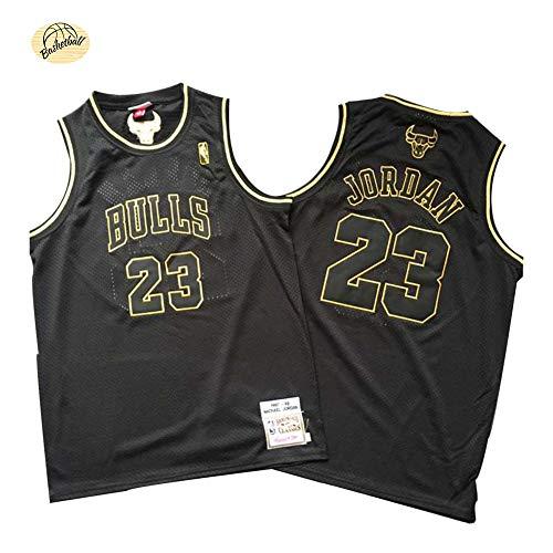 Michael Jordan Chicago Bulls Basketballtrikot, Herren # 23 Classic Besticktes Retro-Trikot, Youth Fan Edition Weste Schnelltrocknendes atmungsaktives Outdoor-Sweatshirt (S-2XL)-Black B-L