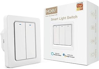 MOES Interruptor de luz inteligente con app WiFi Smart Life/Tuya, mando a distancia, funciona con...